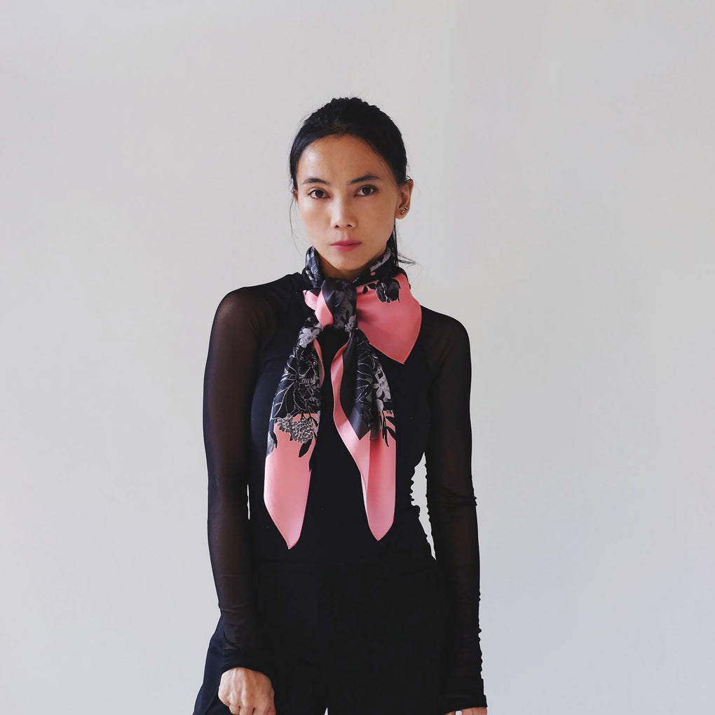 PINK BOUQUET OF FLOWERS BLACK SILK SQUARE SCARF