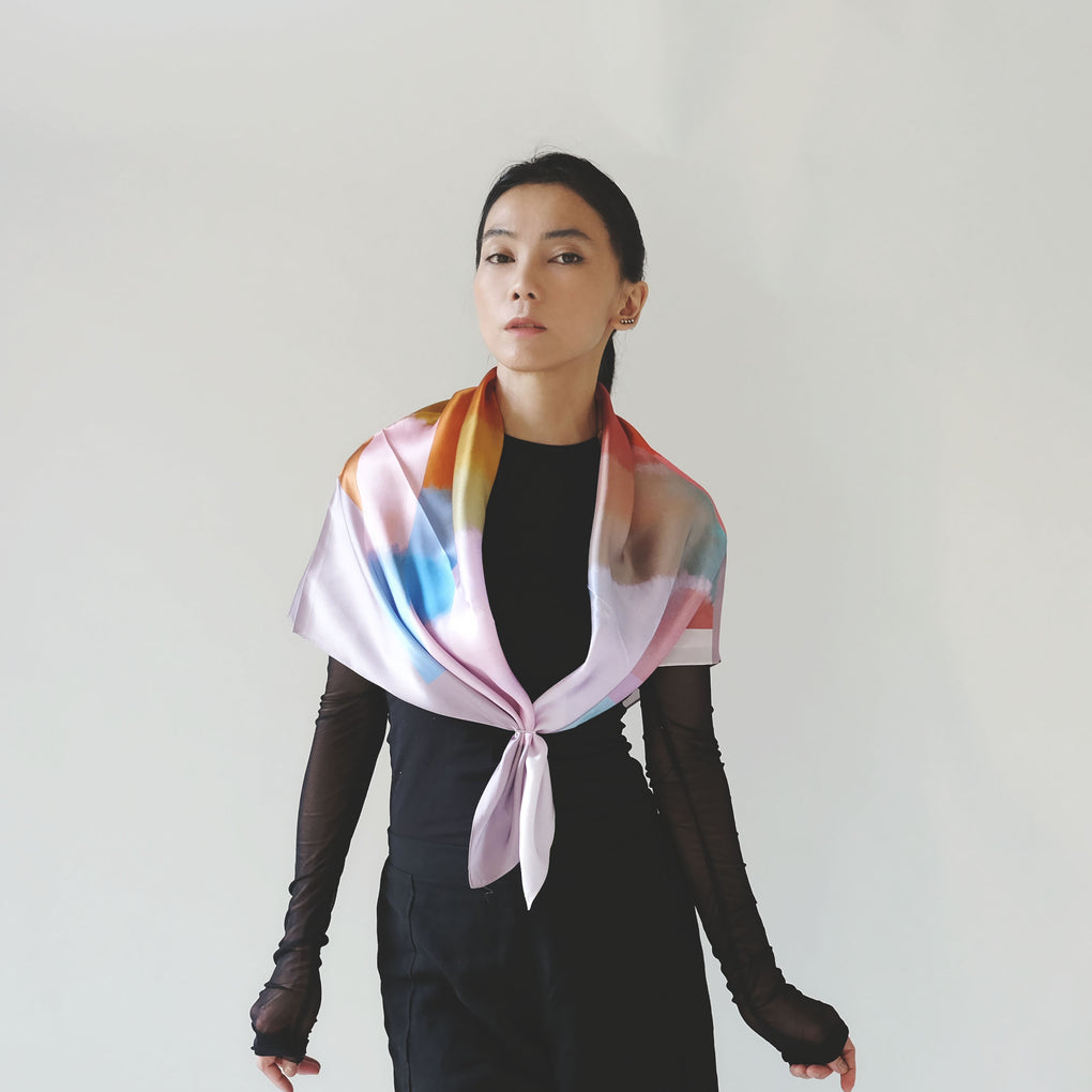 THE MIRRORS PASTEL SILK SCARF