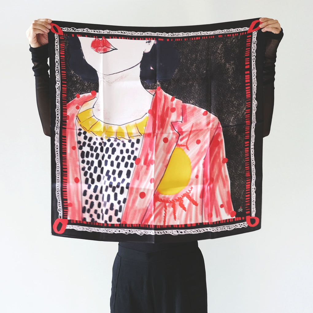 DREAM BIG RED BLACK SILK SCARF