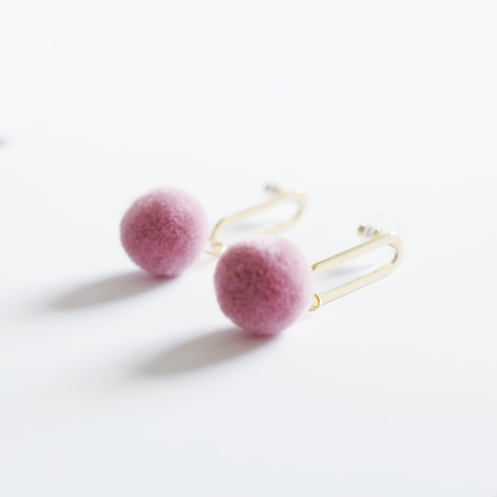 FLOWER BUDS LAVENDER POMPOM 18K GOLD-PLATED DROP EARRINGS