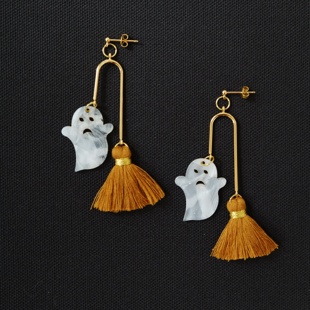 BOO! & BROOM HALLOWEEN 18K GOLD-PLATED DROP EARRINGS