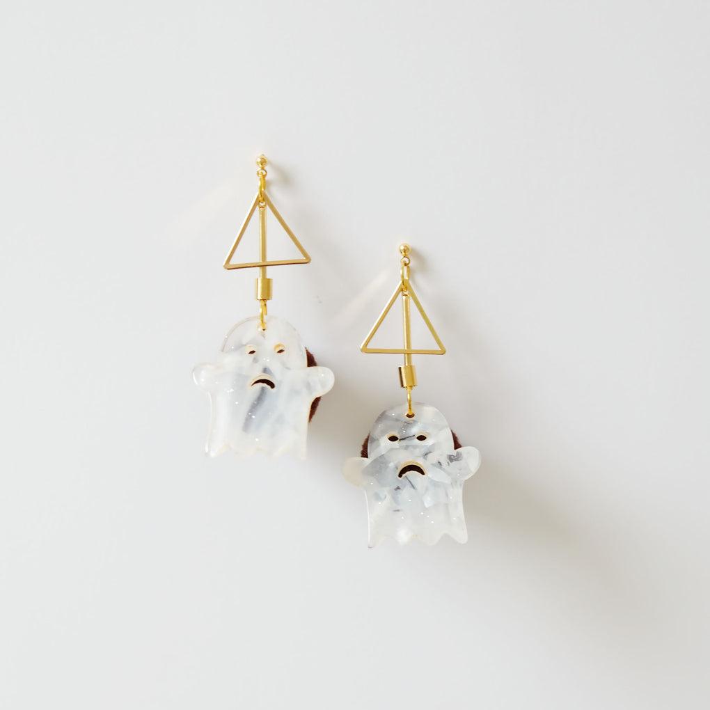 BOO! CUTE GHOST HALLOWEEN BROWN POMPOM 18K GOLD-PLATED DROP EARRINGS