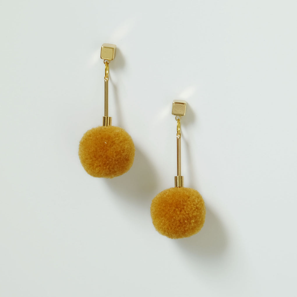 MUSTARD POMPOM 18K GOLD PLATED DROP EARRINGS