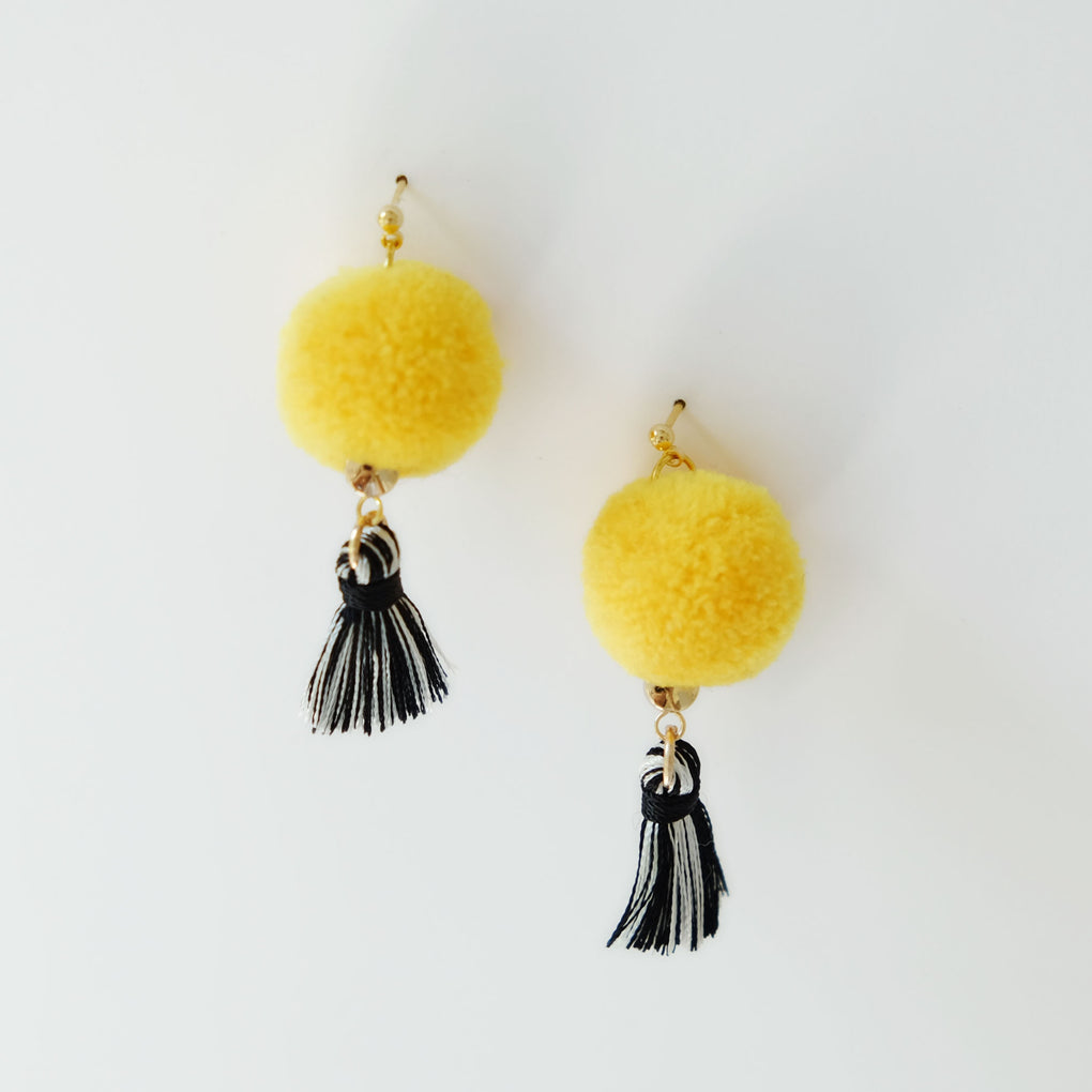 YELLOW POMPOM BLACK TASSEL 18K EARRINGS STUDS
