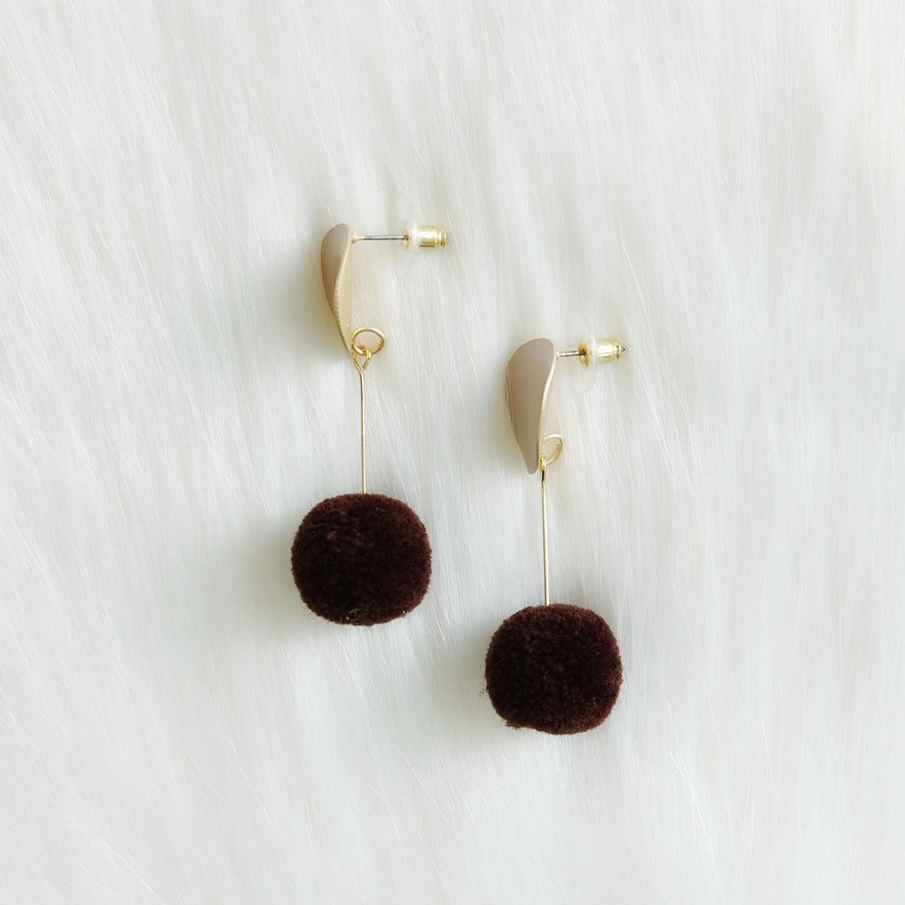 BROWN POMPOM WHITE DROP EARRINGS