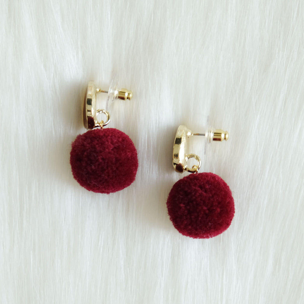 THE MIRRORS DEEP RED POMPOM STUD EARRINGS