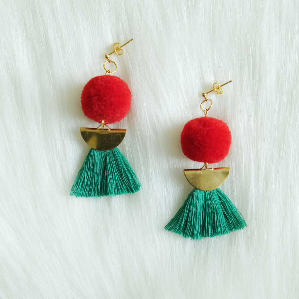 THE RED CHERRY POMPOM GREEN TASSEL 18K EARRINGS STUDS