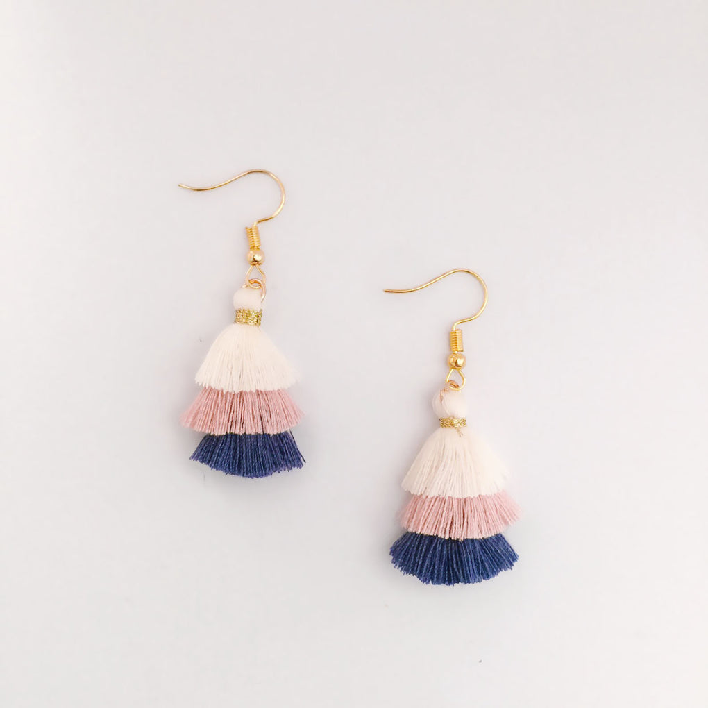 BEIGE LIGHT PINK INDIGO MINI TASSEL EARRINGS