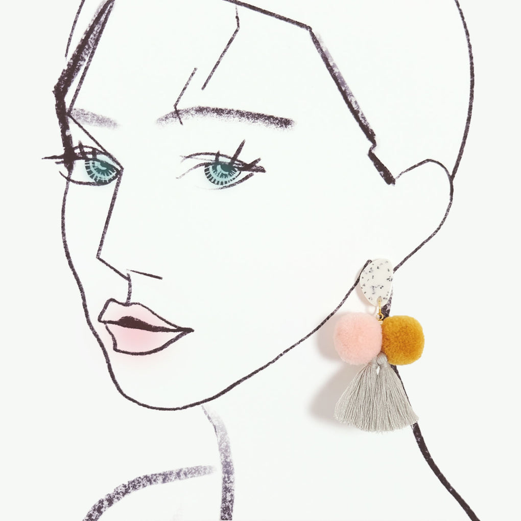THE PASTEL MOOD POMPOM TASSEL STATEMENT EARRINGS