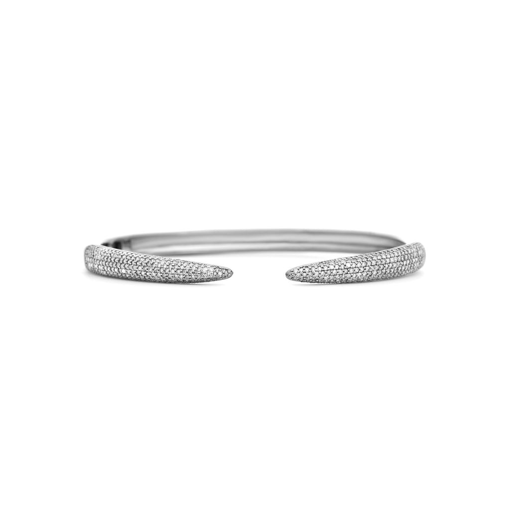 Champagne diamond hinged cuff set in oxidized sterling silver