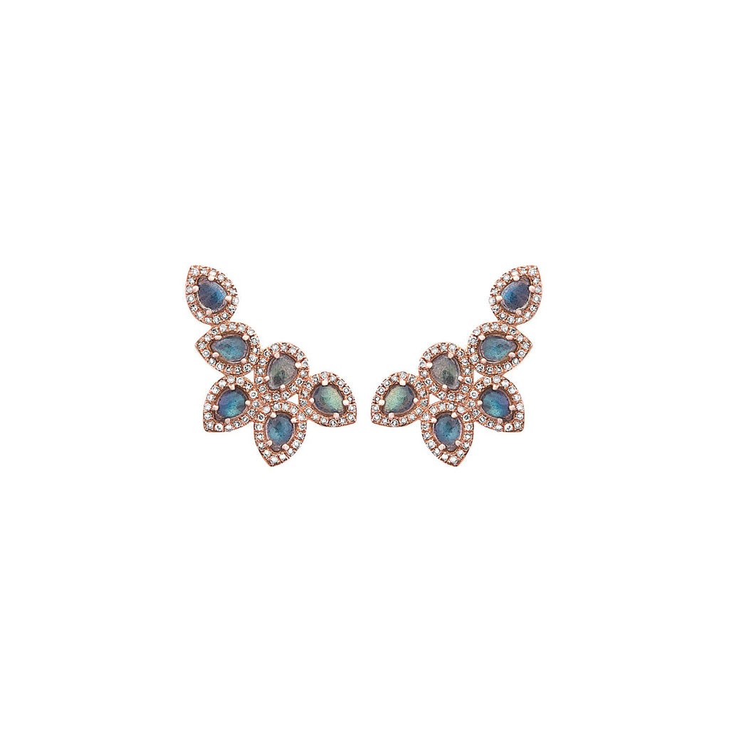 Labradorite and pavé diamond cluster stud earrings set in 14-karat rose gold