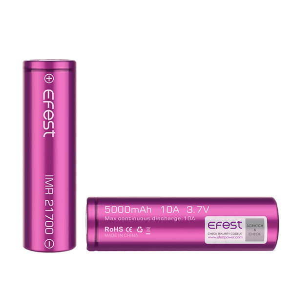 Efest IMR 21700 5000mAh 10A 3.7V Button Top Purple Battery