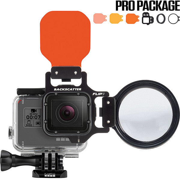 Backscatter FLIP7 Pro Package with SHALLOW, DIVE & DEEP Filters & +15 MacroMate Mini Lens for GoPro 3, 3+, 4, 5, 6, 7
