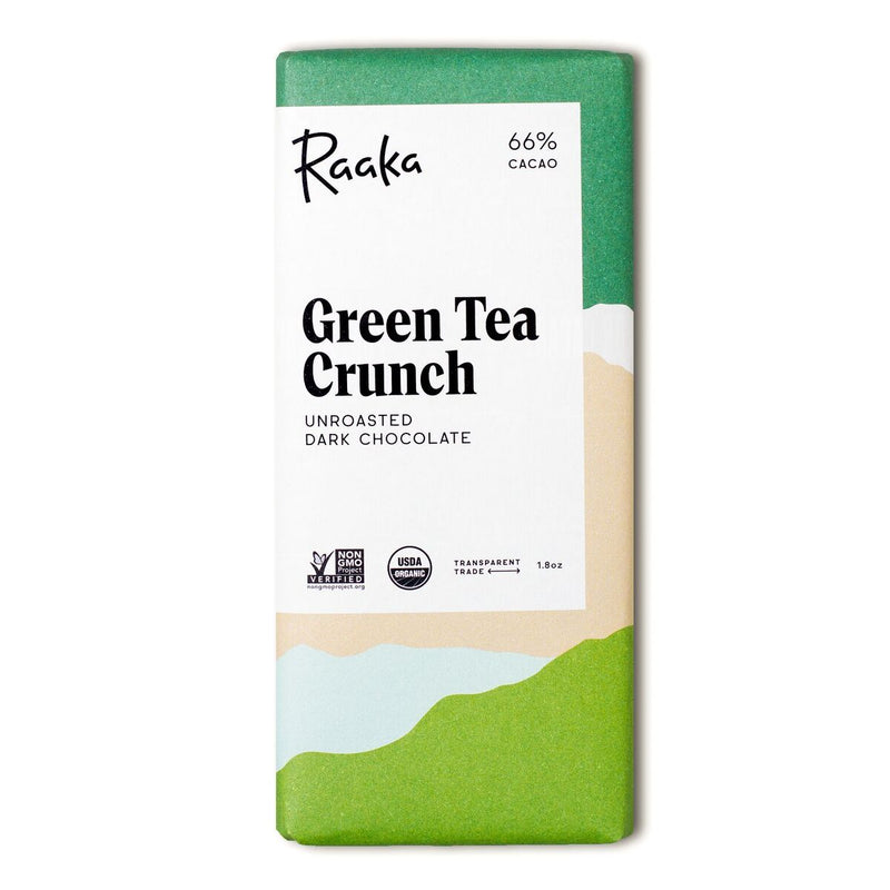 Unroasted Vegan  Natural Green Tea Crunch Chocolate 66% Cacao - Briseis Beauty