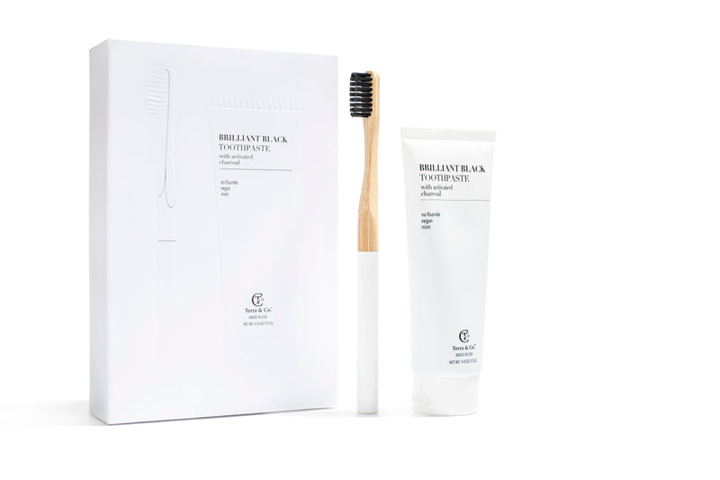 Natural, Vegan, Mint Teeth Whitening Set-  Bamboo Toothbrush+ Charcoal Toothpaste - Briseis Beauty
