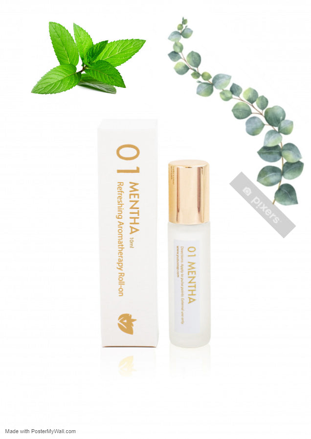 Eucalyptus & Peppermint Aromatherapy Fragrance Roll-on Essential Oil Refreshing MENTHA Migraine Essential Oil Roller - Headache Relief- Reduces Stress - Briseis Beauty