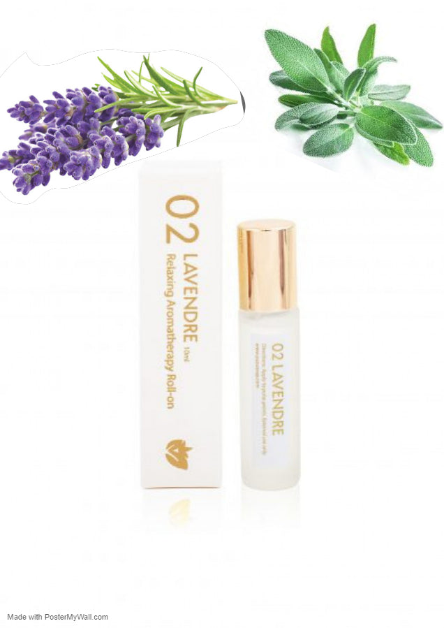 Lavender Relaxing Aromatherapy Fragrance Roll-on Essential Oil Migraine Essential Oil Roller - Headache Relief- Reduces Stress, Tension-  Lavender and Sage - Briseis Beauty
