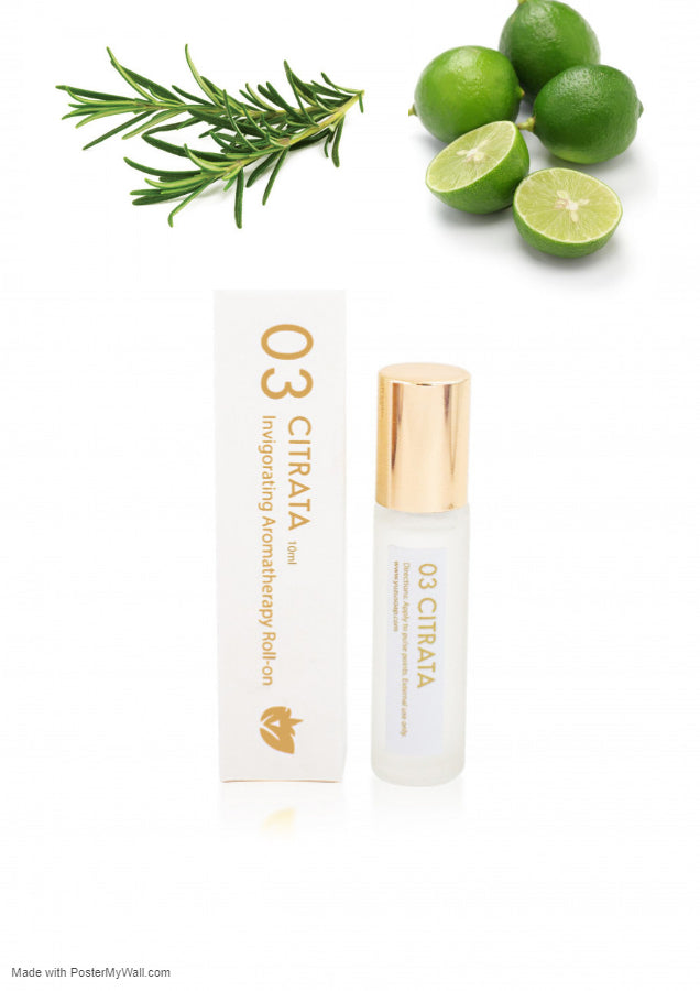 Invigorating Rosemary & Lime Aromatherapy Fragrance Roll-on Essential Oil Migraine Essential Oil Roller - Headache Relief- Reduces Stress, Tension - Briseis Beauty