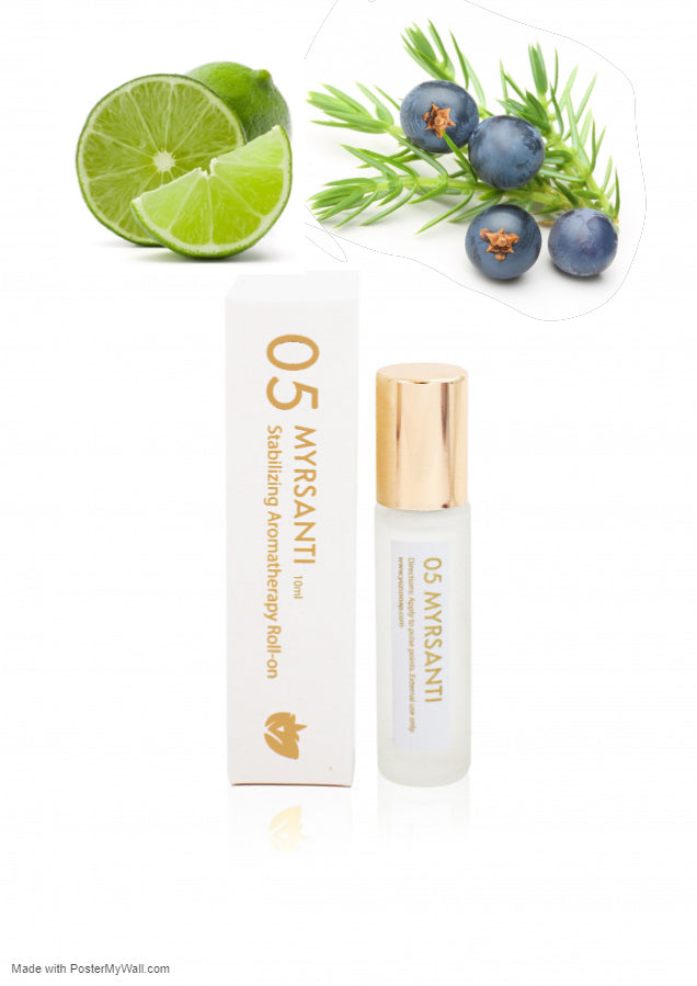 Calming and Stabilizing Juniper Berry & Lime Aromatherapy Fragrance Roll-on Essential Oil Migraine Essential Oil Roller - Headache Relief- Reduces Stress, Tension - Briseis Beauty