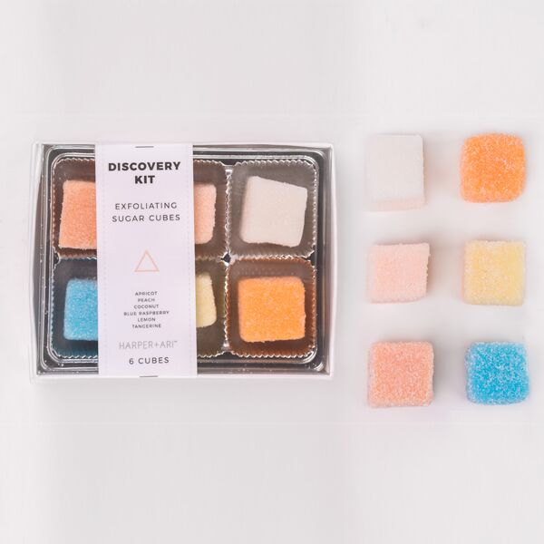 Exfoliating Sugar Cubes - Discovery Kit Gift Box: Apricot, Peach, Coconut, Blue Rasperry, Lemon, Tangerine - Briseis Beauty
