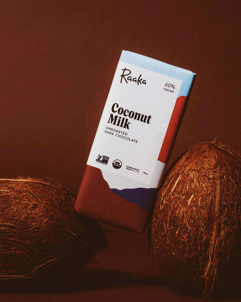 Dark Unroasted Coconut Milk Organic Chocolate Bar 60% Cacao - Briseis Beauty