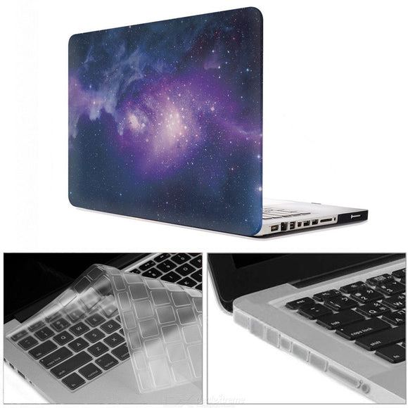 3 in 1 13.3 inch Printing Case + Keyboard Cover + Anti-dust Plugs with CD-ROM for MacBook Pro