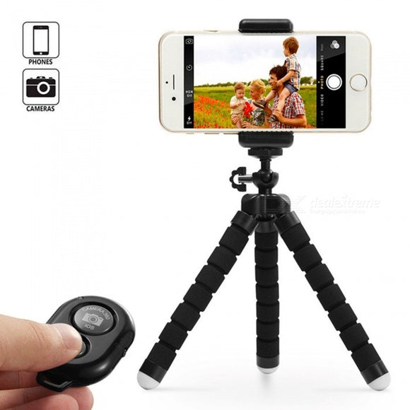 Mini Sponge Self-timer Tripod with Remote Control Digital Camera Mobile Phone Tripod - Black