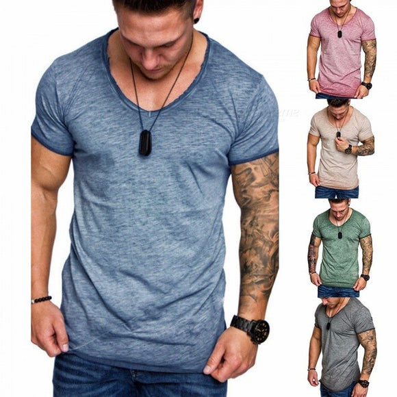 Summer New Splice Slim Men\'s Short-sleeved T-shirt, Casual O-neck T-shirt, Simple Fashion Men Clothing Blue/M