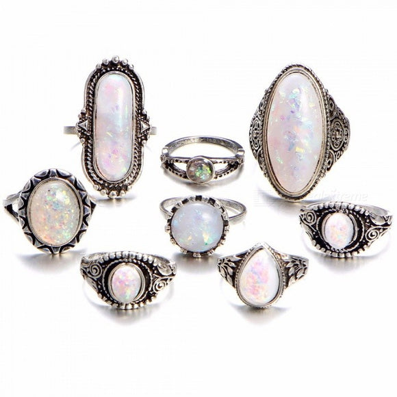 8Pcs/set Women\'s Sterling Silver Rings Set With Natural Gemstone Fire Opal Diamond Ring Retro Jewelry Set Silver
