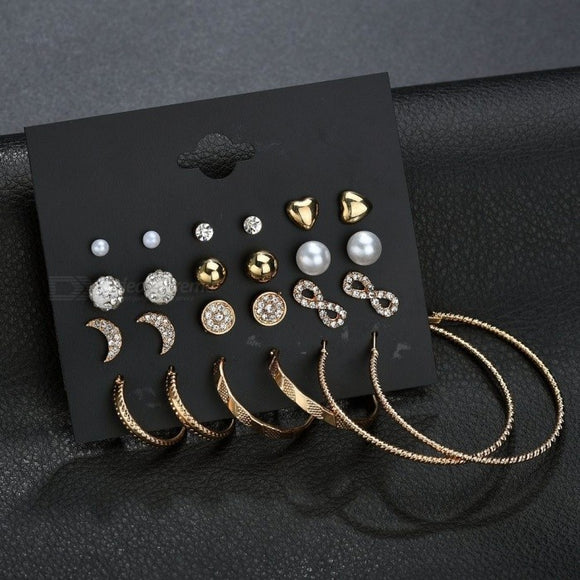 Combination Set 12 Pairs Of Crystal Earrings Design Patterns Stars Moon Rings Diamond Ear Accessories Silver