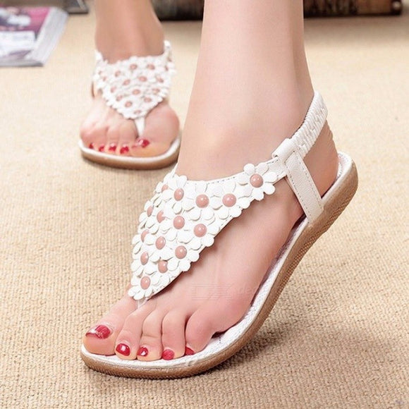 Summer Bohemia Style Sandals Shoes, Clip Toe Flowers Flat Shoes With Elastic Band For Women Beige