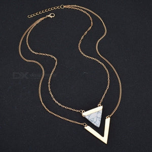 V Letter Shape Triangle Stone Double Layer Geometric Pendant Necklace, Bijoux Statement Necklace Party Jewelry For Women White