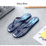Fashion Casual Vertical Stripe Men Flip Flops, Summer Non-Slip Beach Shoes, Clip Toe Slipper Sandal Black/40