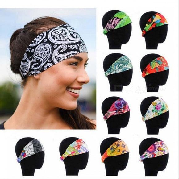 Elastic Headbands Yoga Fitness Women Stretch Hair Bands Printing Girls Running Hair Accessories Random Color