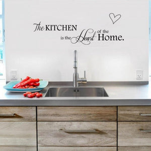 Letter Pattern Wall Sticker PVC Removable Home Decorate DIY Wall Art For Kitchen The Heart Of The Home Black