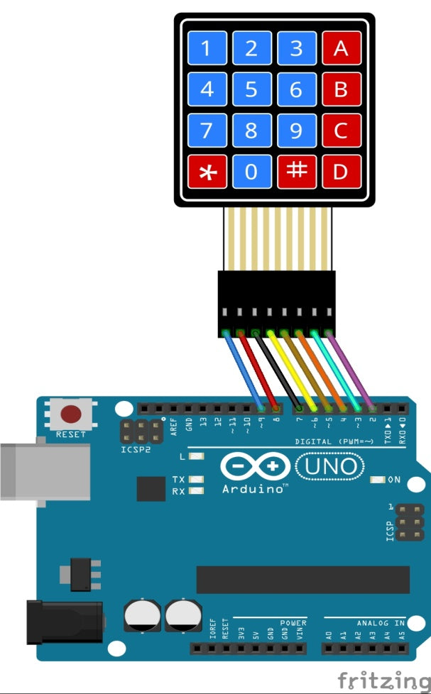 4x4 keypad matrix connections for arduino