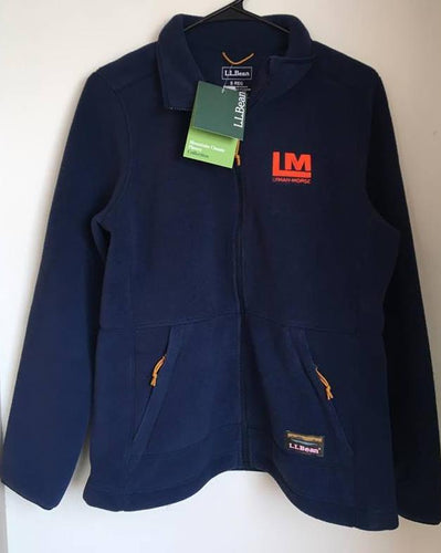 L.L. Bean Embroidered Fleece Jacket - Navy/Orange