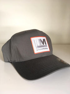 Flexfit LM Cap with Embroidered Patch - Heather Gray S/M