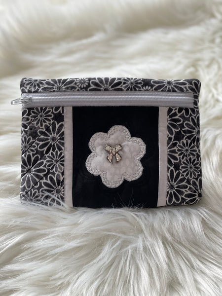Black and white notions pouch