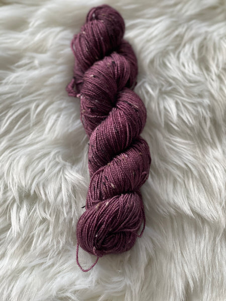 Plum Fingering tweed