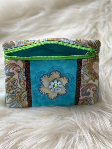 Brown and Blue notions pouch