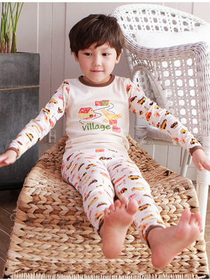 Boy's Slim Two-Piece Long Sleeve and Long Bottom Pajama Set 12M-8 - HiOrganic