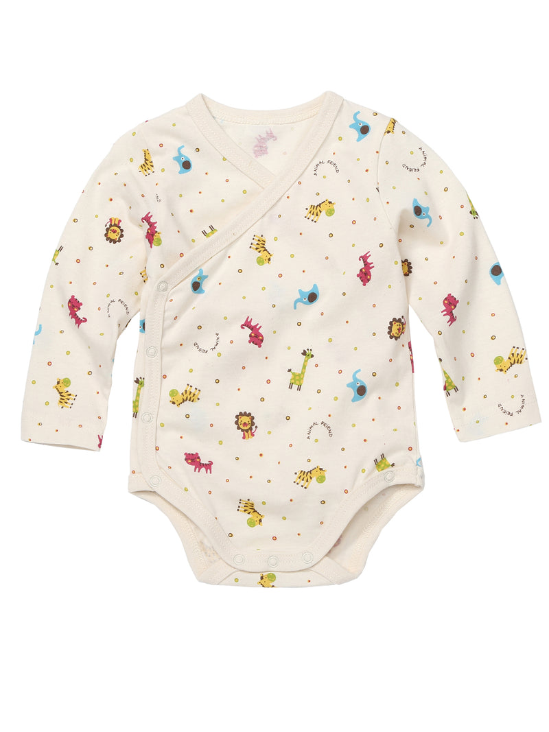 Infant Kimono Long Sleeve Side and Bottom Snap Closure Bodysuit - HiOrganic