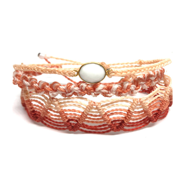 image of Sunset Macrame gemstone bracelet set 3 layers peach, coral, red, and white