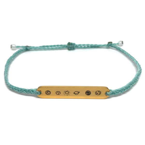 image of galaxy mint bracelet with gold plated bar charm