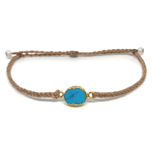 image of Electroplated Turquoise gemstone bracelet tan