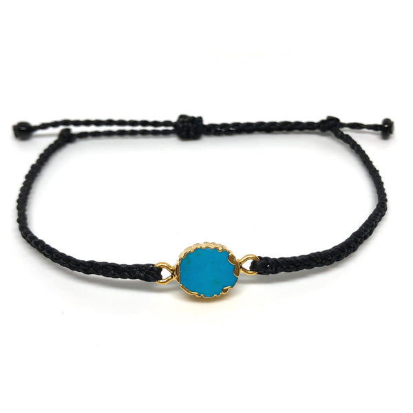image of Electroplated Turquoise gemstone bracelet black