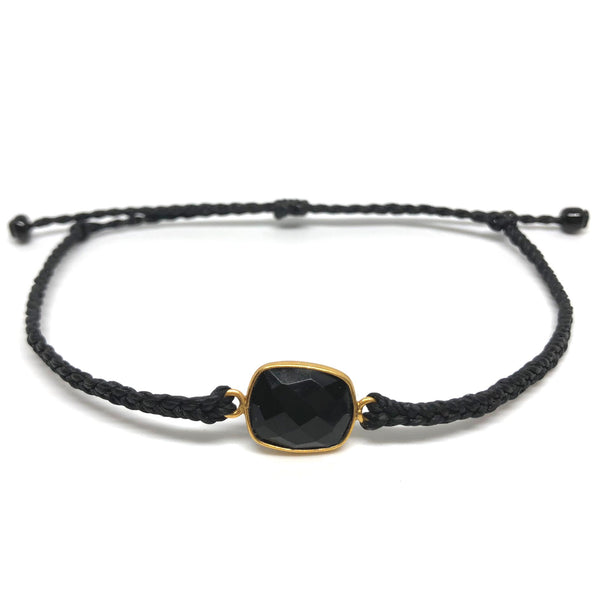 image of Black Onyx gemstone bracelet black