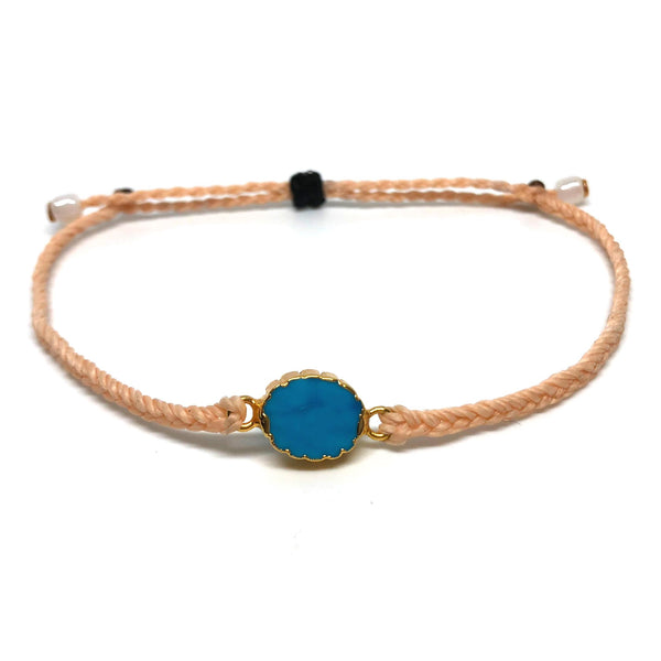 image of Electroplated Turquoise gemstone bracelet peach