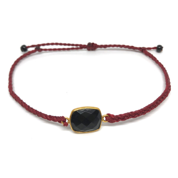 image of Black Onyx gemstone bracelet burgundy